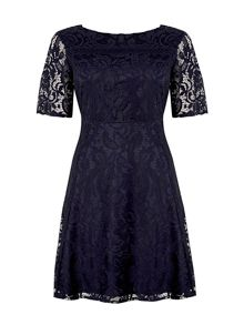 Wallis Ink Floral Lace Fit And Flare