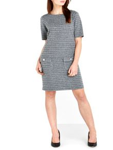 Wallis Monochrome Textured Pinny Dress