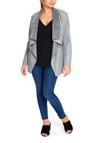 Wallis Grey Longline Waterfall PU Jacket