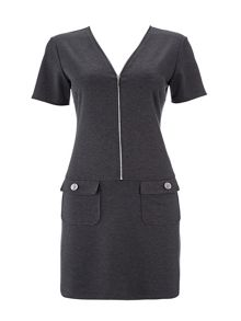 Wallis Grey Zip Front Ponte Dress