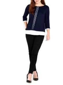 Wallis Navy Lace 2 in 1 Top