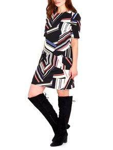 Wallis Colour Block Stripe Zip Dress