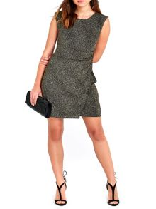 Wallis Petite Gold Glitterball Sleeveless Dress