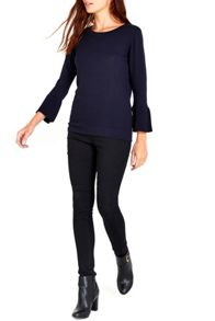 Wallis Navy Flare Sleeve jumper