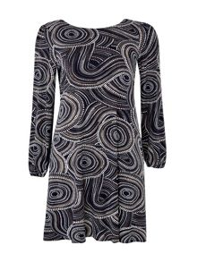Wallis Navy Swirl Spot Swing Dress
