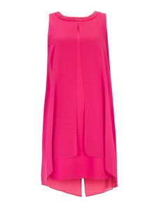 Wallis Pink Emb Neck Overlayer Dress