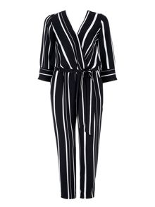 Wallis Spot Wrap Long Sleeve Jumpsuit