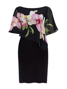 Wallis Black Orchid Asym Overylay Drs