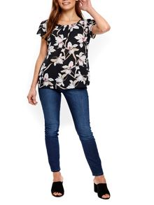 Wallis Black Asian Lily Shell Top