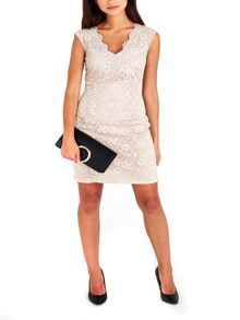 Wallis Petite Neutral Lace Dress