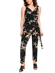 Wallis Black Bird Print Jumpsuit