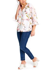 Wallis Grey Waterlily Flute Top