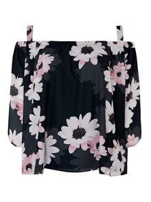 Wallis Black Daisy Cold Shoulder Top