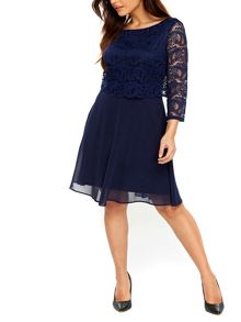 Wallis Deco Lace Sleeved Fit and Flare