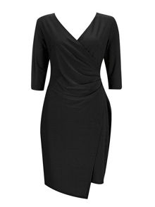 Wallis Black Plain Wrap Dress