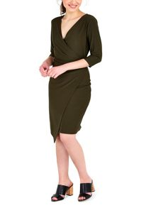 Wallis Khaki Plain Wrap Dress
