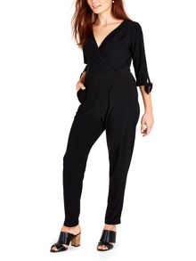 Wallis Black Tie Sleeve ITY Jumpsuit