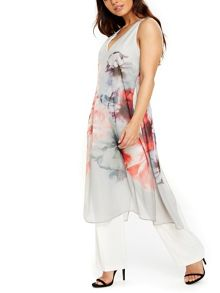 Wallis Grey Floral Overlayer Jumpsuit