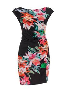 Wallis Black Tropical Floral Rouche