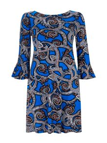 Wallis Paisley Flute Sleeve Swing Dress