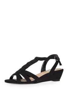 Evans Extra Wide Fit Black Wedge Sandal