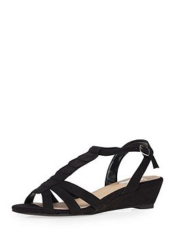 Extra Wide Fit Black Wedge Sandal