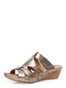 Evans Extra Wide Fit Pewter Comfort Wedge