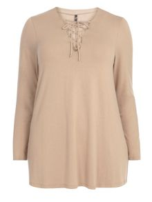 Evans Camel lace up neck top