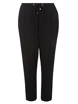 Black tie tapered trousers