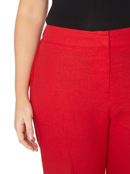 Evans Red Tapered Linen Blend Trousers