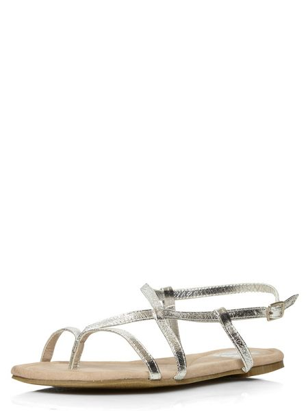 Evans Extra Wide Fit Silver Toe Post Sandal