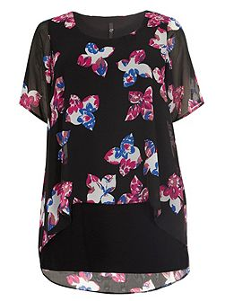 Floral Print Busty Fit Overlay Top