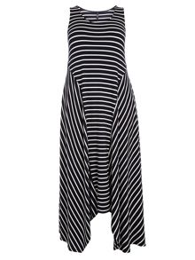 Evans Navy And White Stripe Dress