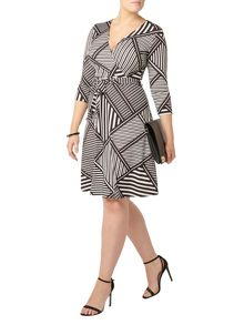 Evans Striped Hourglass Fit Wrap Dress