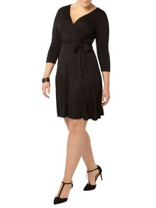 Evans Black Hourglass Fit Wrap Dress