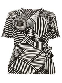 Evans Stripe Hourglass Fit Wrap Top