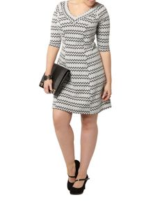 Evans White Printed Hourglass Fit Dress