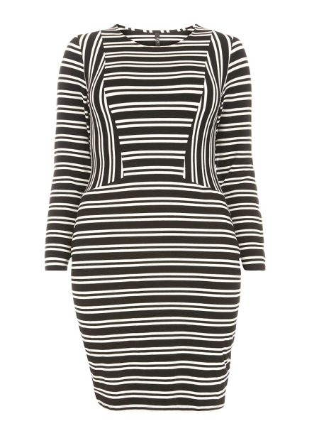 Evans Striped Hourglass Fit Bodycon Dress