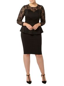 Evans Black Hourglass Fit Peplum Top