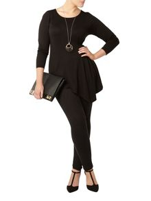 Evans Black Hourglass Fit Asymmetric Top