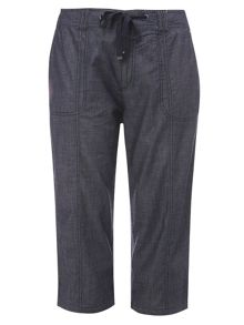 Evans Chambray Cropped Trousers