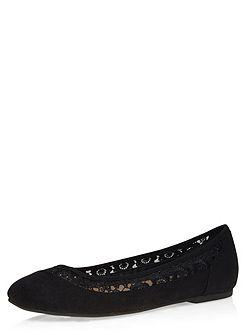 Extra Wide Fit Black Lace Trim Flat