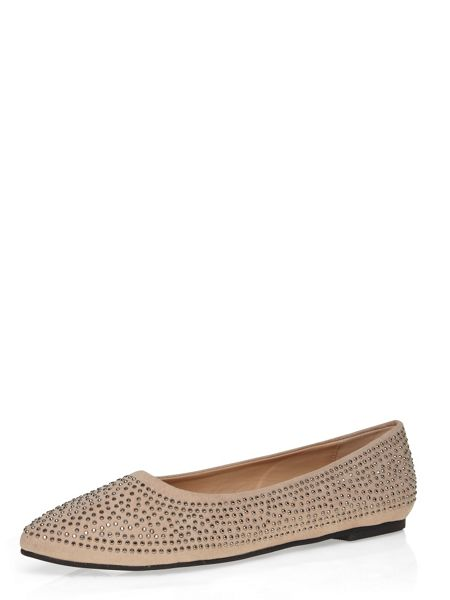 Evans Extra Wide Fit Nude Diamante Point