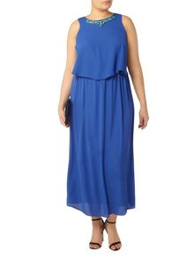 Evans Blue Embellished Maxi Dress