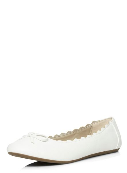 Evans Extra Wide Fit White Scallop Ballerina