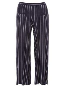 Evans Navy Stripe Wideleg Trousers