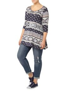 Evans Paisley Stripe Swing Top