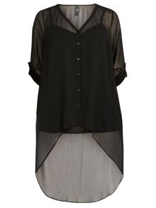 Evans Black High Low Hem Shirt.