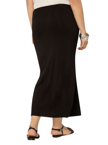 Evans Black Side Split Maxi Skirt