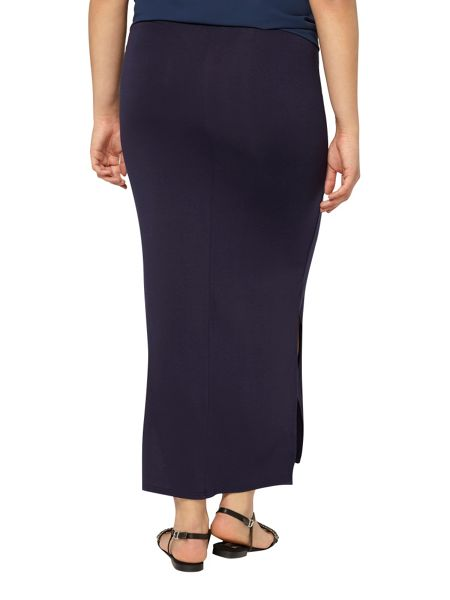 Evans Navy Blue Side Split Maxi Skirt